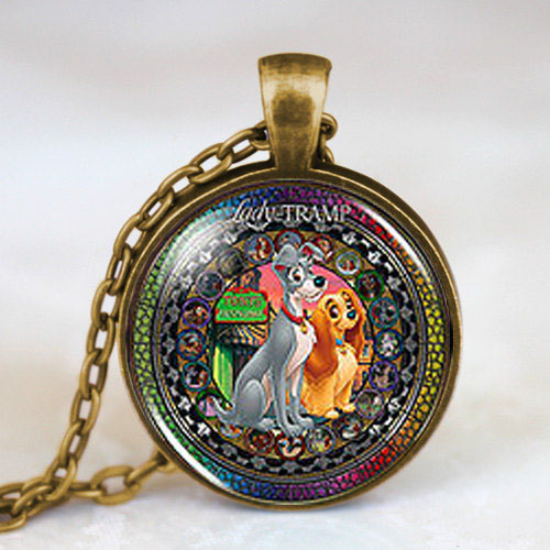 US movie Anime Lady and the Tramp Fashion Necklace 1pcs/lot brass silver Pendant steampunk Jewelry Gift women new chain toy mens