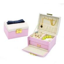 New Fashion Korean Top Quality Leather Jewelry Storage Box Suitcase,Portable  Makeup Organizer Boxes,