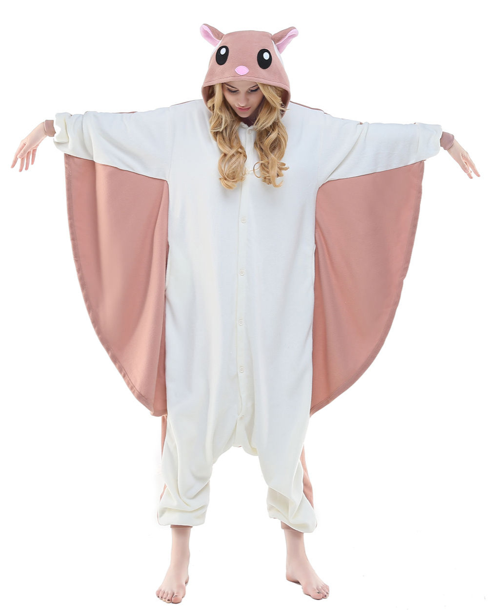 Unisex Adult Winter Spring Autumn Animal One-Piece Flying Squirrel Pajamas Animal Cosplay Costume Men Women Sleepwear Dress Robe
