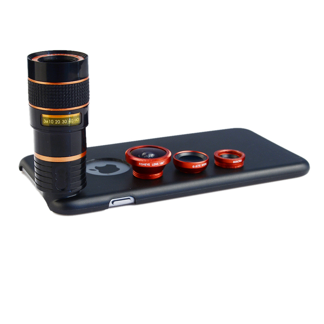 8X Telephoto Zoom Lens + Fisheye Fish Eye+ Wide Angle+ Macro Camera Lens Kit with case for apple iphone 6/6S Mobile Phone Lenses