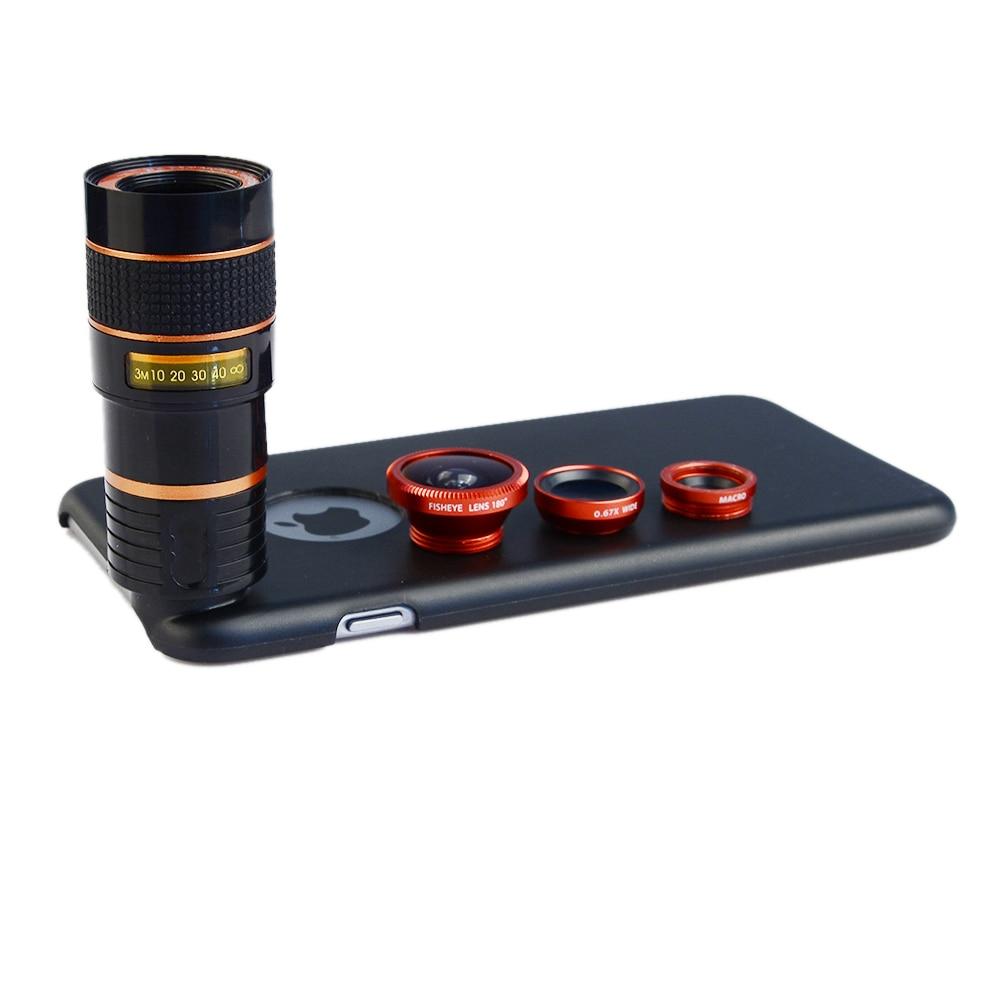 imágenes para Lente de Zoom de 8X Teleobjetivo + Fisheye Ojo de Pescado + Gran Angular + Macro Lente de la cámara Kit con el caso para el iphone de apple 6/6 S Teléfono Móvil lentes