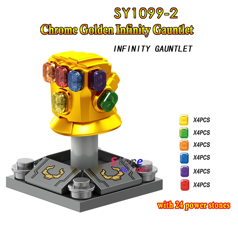 50pcs Marvel Avengers 3 Infinity War Thanos Infinity Gauntlet SY1099 2 with 24pcs gemstones building block