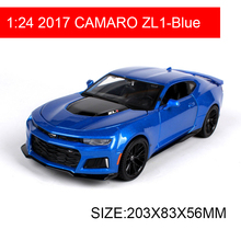 Maisto 1:24 Diecast Model 2017 CAMARO ZL1 Blue Muscle car Alloy Car Metal Toys gift modified car simulation model For Collection maisto 1 24 2009 gtr35 white car diecast for nissan police open car doors car model motorcar diecast for men collecting 32512