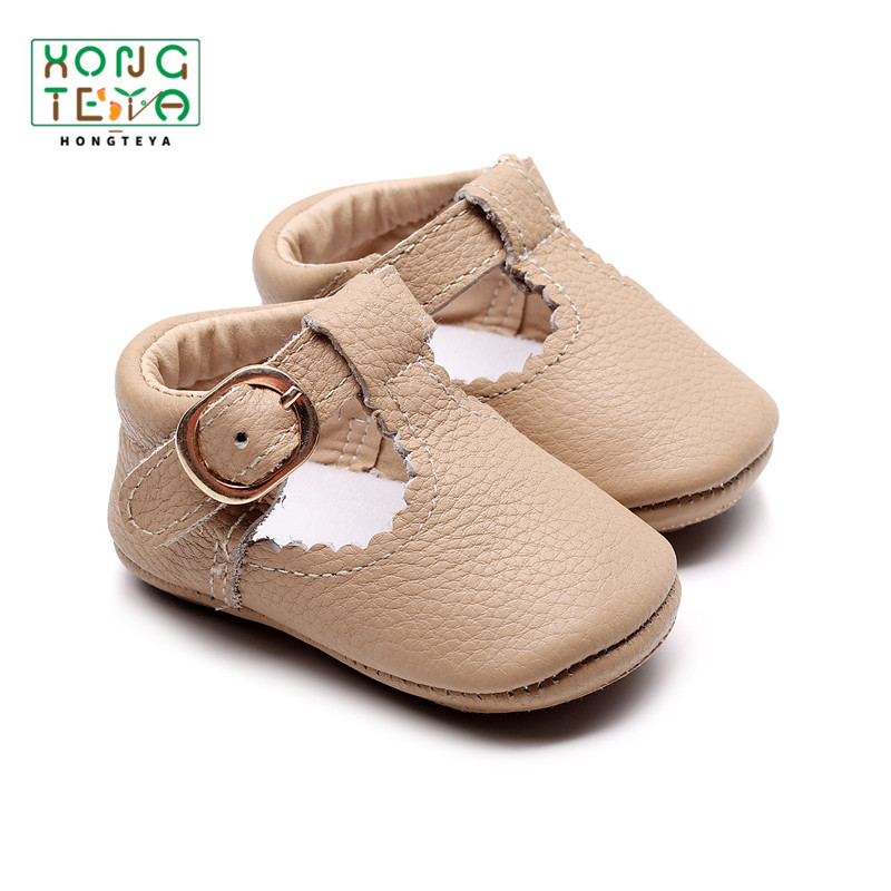 2020 Genuine Leather T-bar Mary Jane Baby Girls Shoes Infants Toddler Baby Princess Ballet Shoes Newborn Crib Shoes Soft Sole