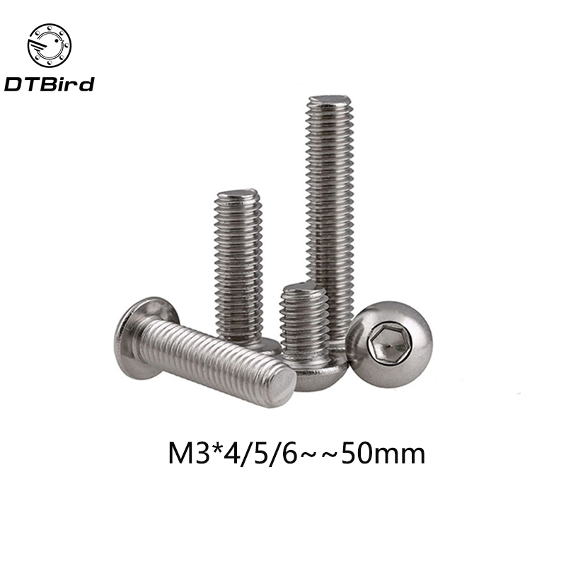 100pcs M3 Bolt A2-70 Button Head Socket Screw Bolt SUS304 Stainless Steel M3*(4/5/6/8/10/12/14/16/18/20/22/25/30/35/40/45/50) mm