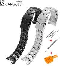 Watch accessories solid steel watch with men for Casio EF 550D stainless steel metal bracelet 22mm black waterproof strap