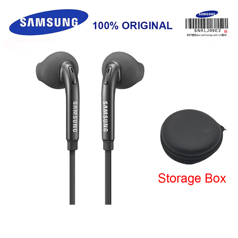 SAMSUNG Earphone EO-EG920 Wired with Black Storage Box  3.5mm plug In-ear Gaming Headsets Support Galaxy S8 S8P S9 S9P
