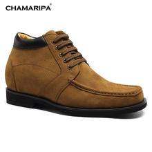 CHAMARIPA Increase Height 9cm/3.54 inch Men Elevator Shoe Suede Leather Desert Boots Elevator Boots Taller Height Increasing