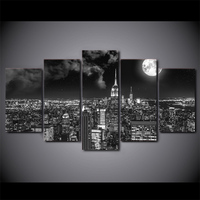 5 Pcs/Set Framed HD Printed Surreal City Night Moon Picture Wall Print Poster Canvas Oil Painting Photo Art