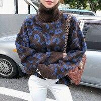 HAMALIEL Korean Women Sweater Autumn Winter Fashion Print Leopard Thick Knitted Pullovers Casual Turtlenek Loose Jumper Tops