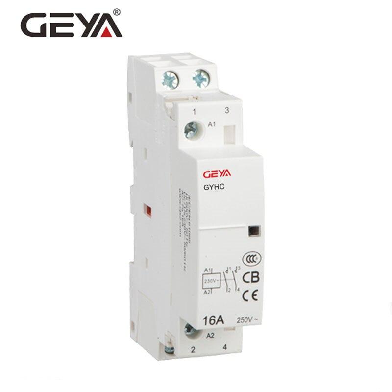 GEYA GYHC Contacteur Modulaire 2 p 16A 20A 25A 2NO ou 2NC ou 1NO1NC220V Automatique Contacteur Domestique Rail Din Type