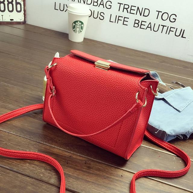 Fashion Push Lock Women Messenger Bags High Quality PU Leather Litchi Stria Shoulder Bag Small Crossbody Bags for Women Bolsa