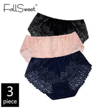 FallSweet 3pcs/Pack! Plus Size Women Underwear Lace Briefs Sexy Panties for Women XL- 4XL Comfort Underpants(China)