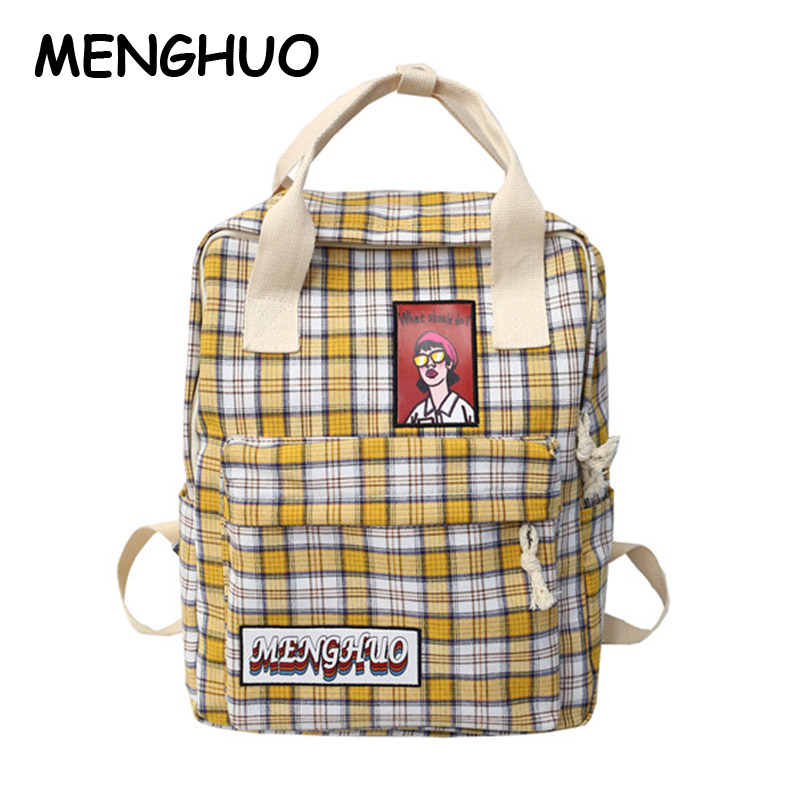 Menghuo Polyester Cotton Personality Lattice Girl Backpack New Fashion High Quality Large Capacity Casual Wild Travel Backpack