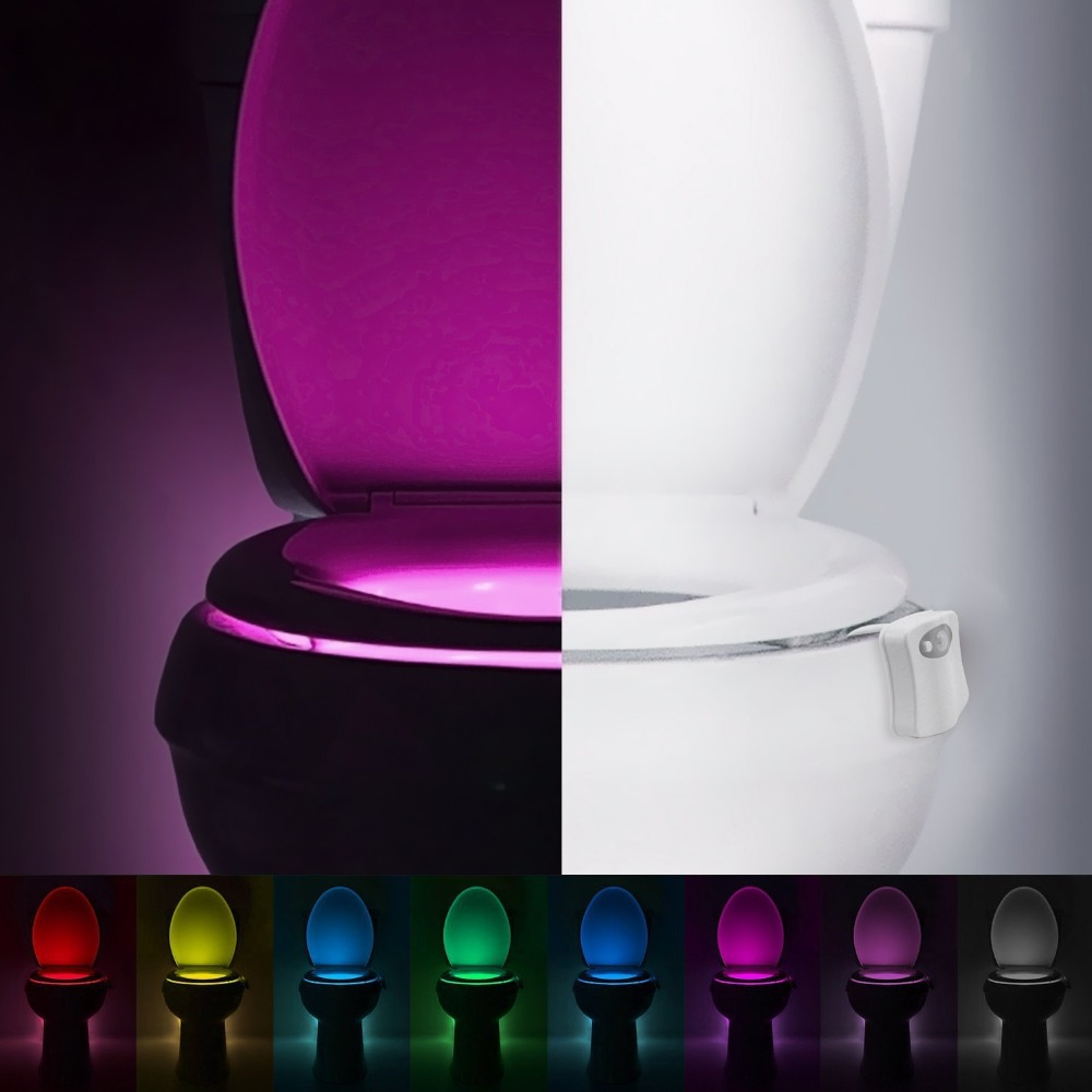 10Pcs PIR Motion Sensor Toilet Seat Novelty LED lamp 8 Colors Auto Change Infrared Induction light Bowl For Bathroom lighting vasos sanitários coloridos