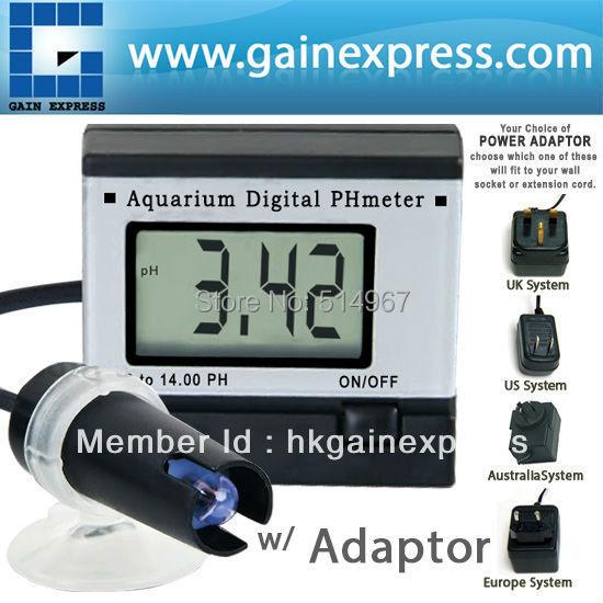 Digital pH Meter Tester Monitor Hydroponics Aquarium with 1M 1Meter Cable + Adaptor + FREE 2 Buffer Solutions free shipping mini ph meter monitor aquarium