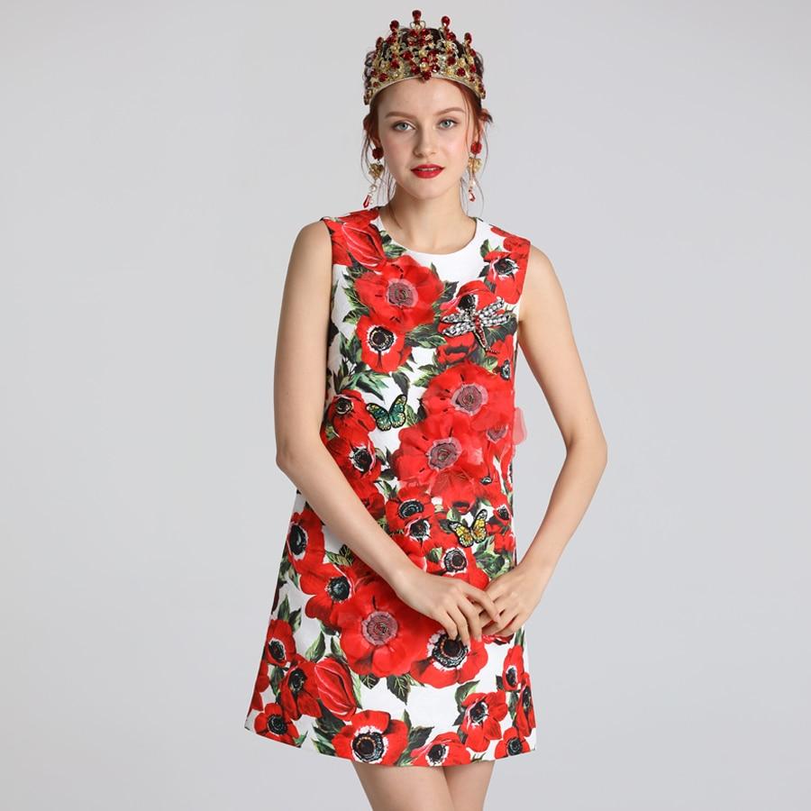 Vêtements Robe Taille Imprimer Tour Roosarosee cou D'o Nature Robes dessus Du Manches Les De Fleur Rouge Genou Nouveau 2019 Femmes Sans D'été q4PpfT