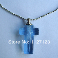 25pcs/lot blue crucifix Rice vials pendants rice vial pendant perfume empty glass bottle glass spray perfume bottl ..