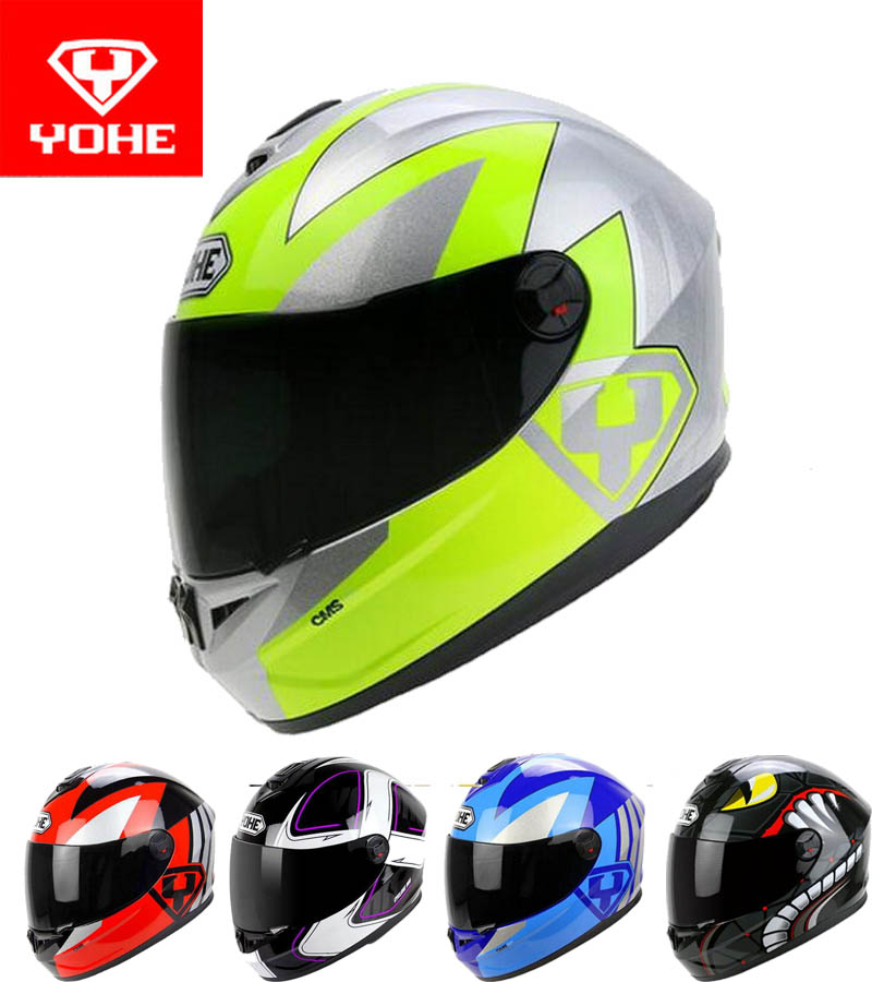 2017 New YOHE Full Face motorcycle helmet motocross motorbike helmets made of ABS PC Visor winter warm four season Model YH966