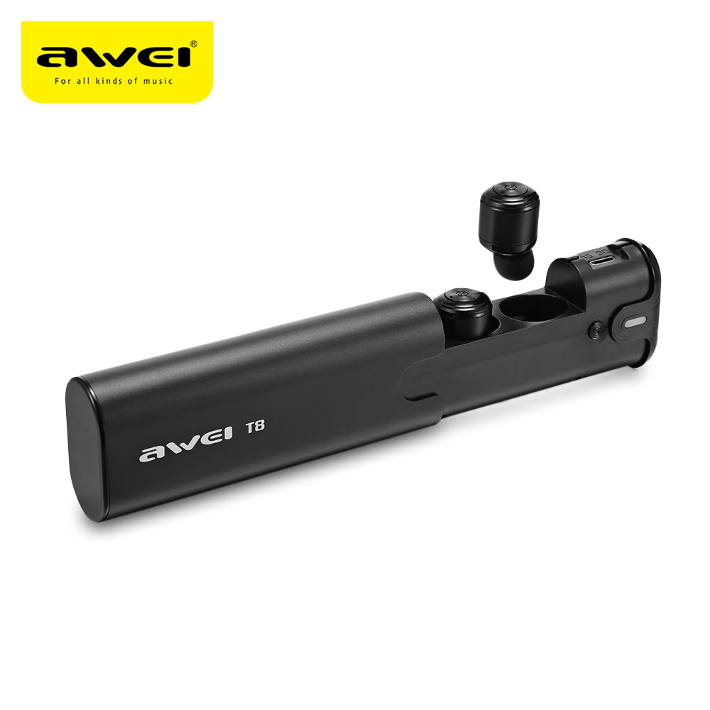 AWEI <font><b>T8</b></font> <font><b>TWS</b></font> Bluetooth Earphone Ture Wireless Earbuds with Power Bank Dual Microphone 3D Stereo In-Ear Earphones for Smart Phone image