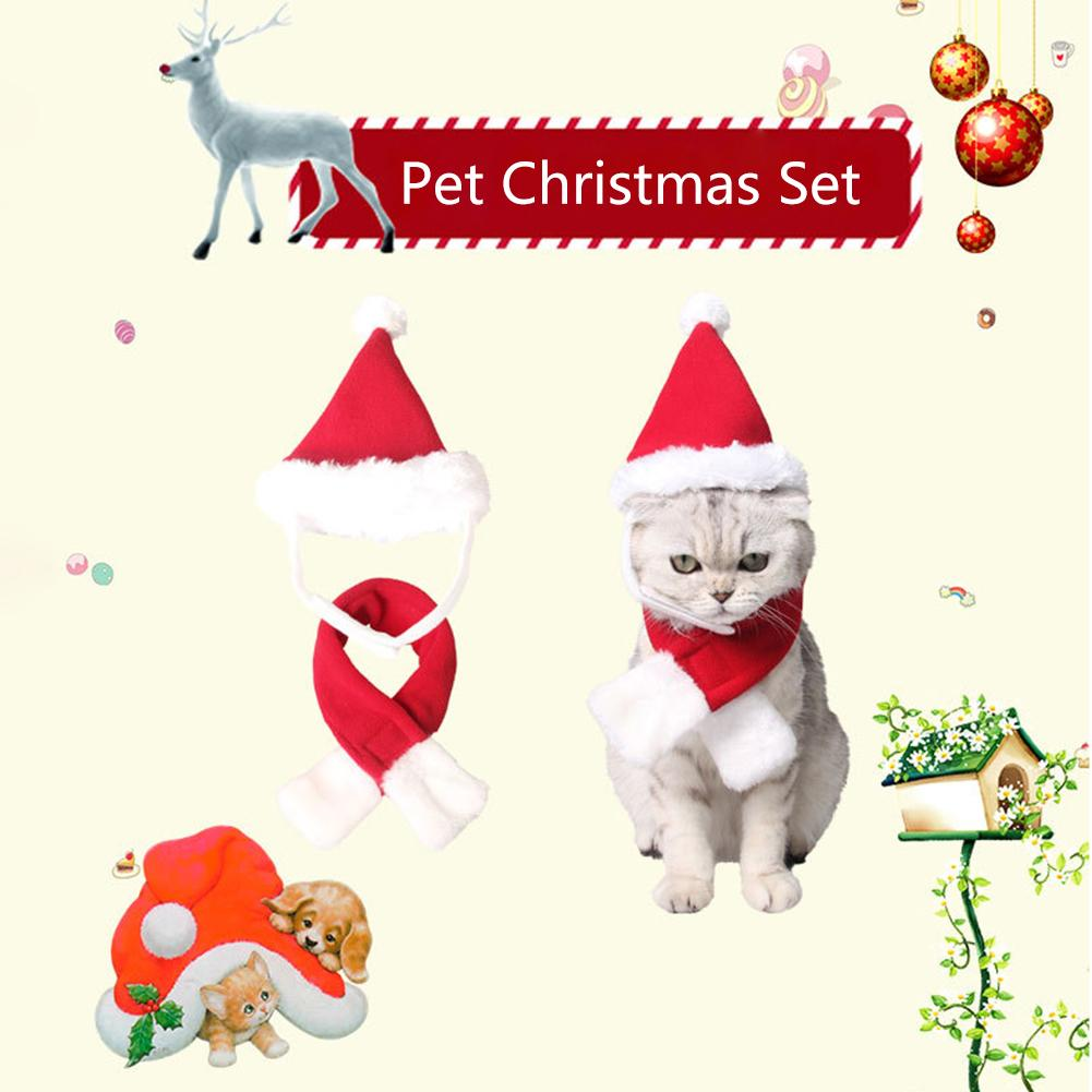 Pet Hat Scarf Christmas Pet Costume Set Atmosphere Props For Cat And Dog Costume Dropshipping