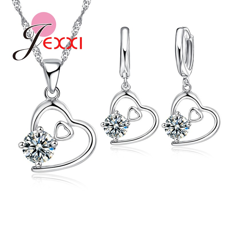 Sweet Girls <font><b>925</b></font> Sterling <font><b>Silver</b></font> <font><b>Jewelry</b></font> <font><b>Sets</b></font> Double Hearts Hollow Design Crystal Pendant Necklace Earrings Accessories image