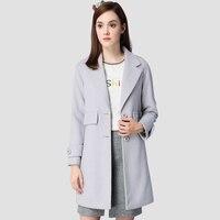 Women Winter Wool Blend Coat 2016 New Solid Long Coats Fashion Lady Outerwear Female Blazer Jacket Overcoat Light Gary Z624