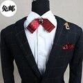 Новый Бесплатная Доставка моды 2016 мужчин МУЖСКАЯ свадьба Черный алмаз инкрустированные двойной лук галстук жениха партийные мужчины женщины воротник красный НА ПРОДАЖУ