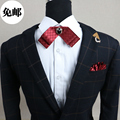 New Free Shipping fashion 2016 male MEN'S wedding Black diamond inlaid double bow tie groom party men women collar red ON SALE
