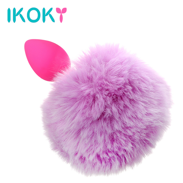 84e9011d666 IKOKY Butt Plug Anal Plug Tail Hairy Rabbit Tail Cute Silicone Adult  Products Erotic Toys Anal Sex Toys for Women