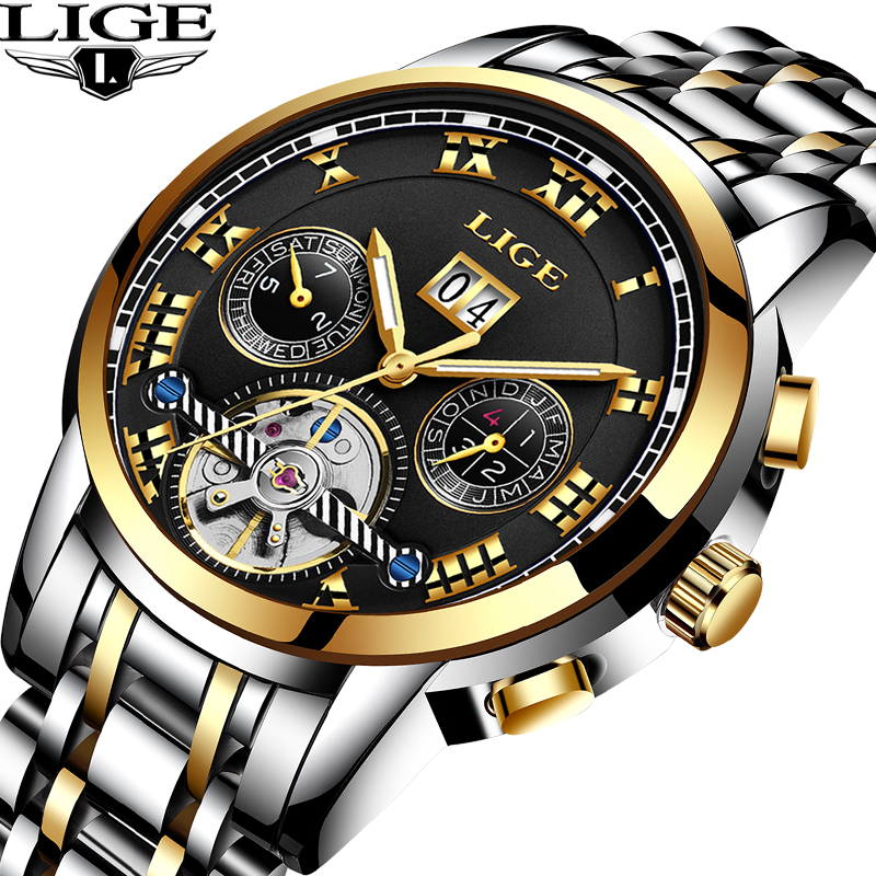 LIGE Top Luxury Brand Mens Watch Automatic mechanical Watches Sport Fashion Business Waterproof Military Clock Relogio Masculino skmei 6911 womens automatic watch women fashion leather clock top quality famous china brand waterproof luxury military vintage