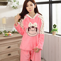 Women winter Thick long-sleeved flannel pajamas girls tracksuit suit female warm sleepwear sets homewear pajamas sets S2437