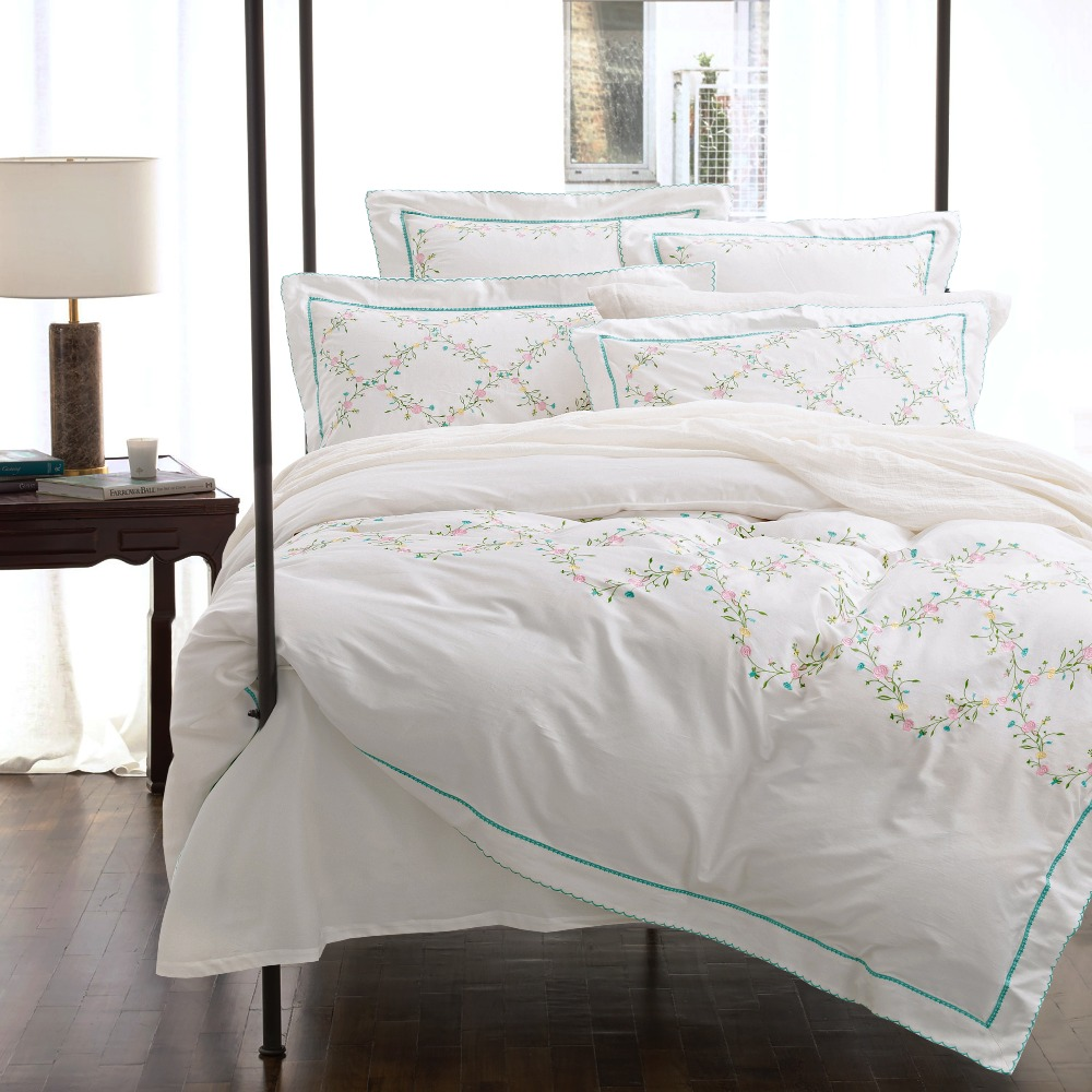 Embroidery price sheet - 60s Cotton 4 6pcs Bedding Set Exquisite Embroidery Luxury Bedclothes King Queen Bedcover Doona Duvet