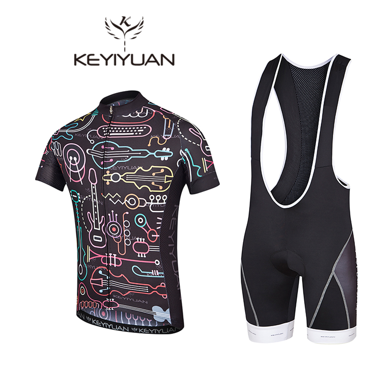 KEYIYUAN Newest Mens Cycling Jerseys Sets Ropa Ciclismo Cycle Clothes Bike Jerseys Suits Bicycle Sportswear Cycling Clothing
