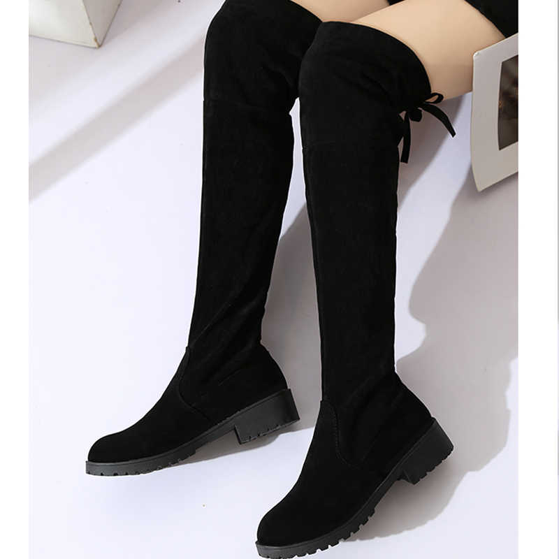 2018 NEW High Boots Female Winter Boots Women Over the Knee Boots Flat Stretch Sexy Fashion Shoes Black EUR34--43 riding boots