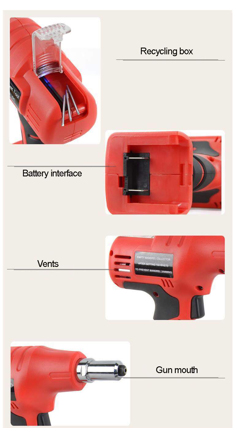 Купить с кэшбэком 2019 NEW 14.4V portable cordless electric rivet gun rechargeable riveter battery riveting tool pull rivet nut tool