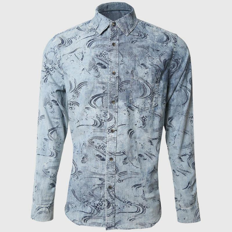 3d fish print men shirts denim long sleeve casual shirts for Fish print shirt