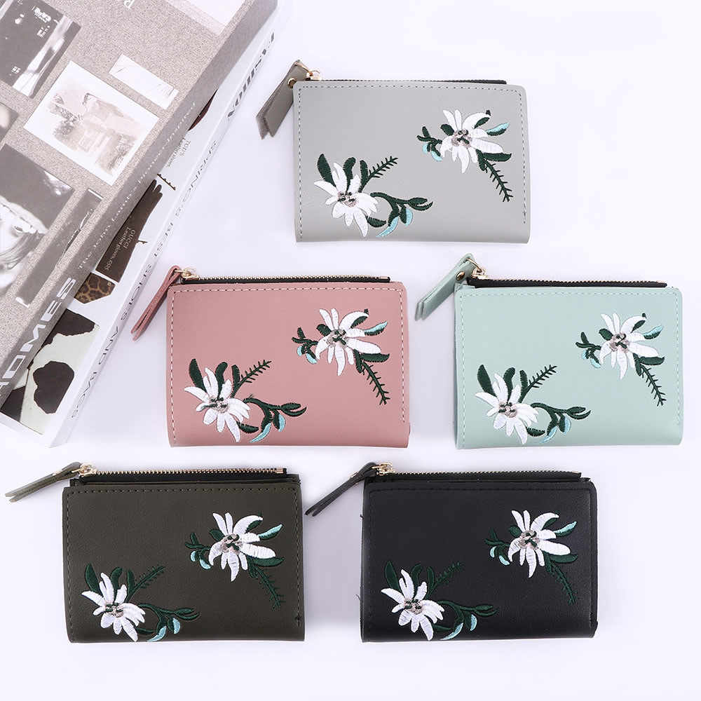 1 Pza nueva cartera para mujer monedero de cuero para mujer Simple plegable pequeño bolso monedero cinco colores