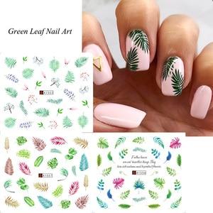 Image 4 - Ensemble de décalcomanies pour ongles, feuilles vertes, transferts à leau, 12 pièces, autocollants de manucure, tatouage, Nail Art, modèles TRA1549 1560