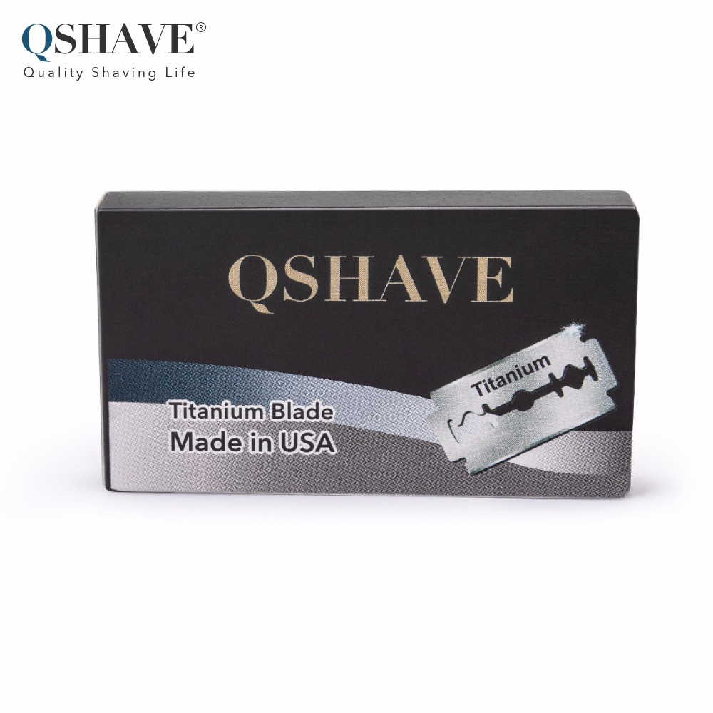 Qshave IT Safety Razor Blade Straight Razor Titanium Blade Double Edge Classic Safety Razor Blade Made in USA, 100 Blades