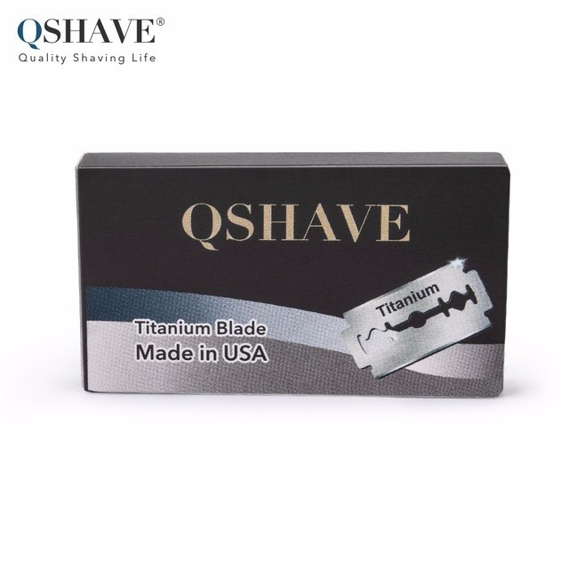Qshave IT Safety Razor Blade Straight Razor Titanium Blade Double Edge Classic Safety Razor Blade Made in USA, 100 Blades