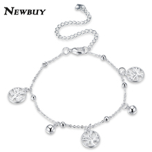 NEWBUY 2017 Fashion Female Summer Jewelry Silver Plated Life Tree Anklets For Women Vintage Design Foot Bracelet