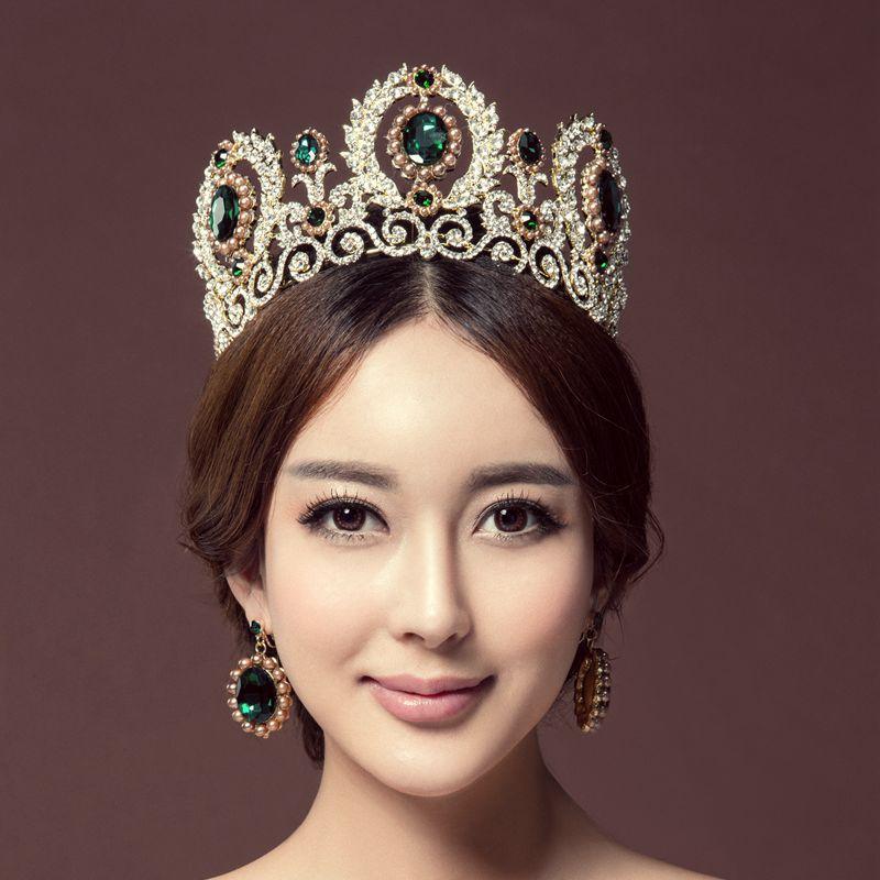 зелена кристална луксузна принцеза тиара КУЕЕН ЦРОВН венчаница велике величине велепродаја накита на велико
