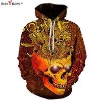 BIANYILONG Newest Hip Hop Hoodies Men Women 3d Sweatshirts Print Skulls Fashion Club Hooded Hoodies Unisex