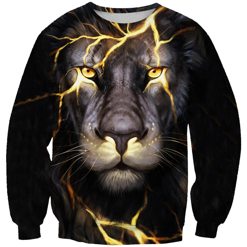 New Fashion Men/Women 3d Sweatshirts Print Golden Lightning Lion/Flag Eagle/Tiger Hooded Hoodies Thin Hoody Tracksuits Tops