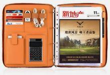 4 オーガナイザービジネスファイルフォルダとジッパー電卓 マネージャードキュメントバッグ A4