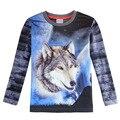 Meninos lobo 3d camiseta de manga longa, azul Cinza camiseta, Roupas para crianças, roupas de Todos para crianças roupas e acessórios enfant