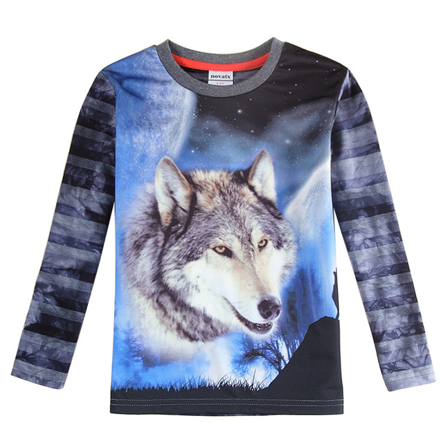 boys wolf 3d long sleeve t shirt,Gray blue t shirt,Clothing for kids clothes,All for children clothing and accessories enfant