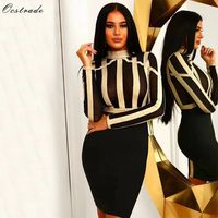 Ocstrade New Bandage 2019 Dresses Gold and Black Long Sleeve Bandage Dress Woman Party Night Sexy Mesh Bodycon Bandage Dress