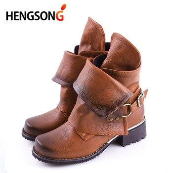 HENGSONG Fashion Winter Woman Ladies Horse Riding Boots Vintage Combat Punk Ankle Shoes Women Genuine Leather Short Boots римские сандали
